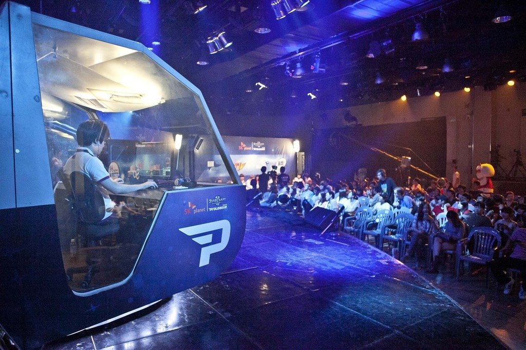 SK Planet Starcraft Proleague game in het e-Sports Stadium in Seoul. – © Jean Chung / Bloomberg
