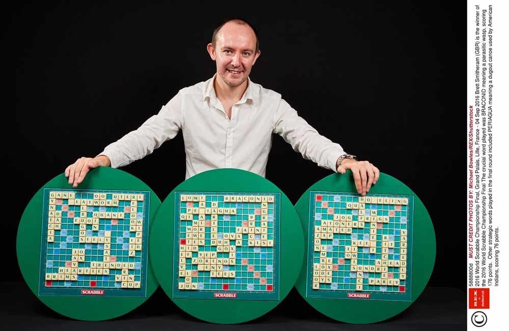 De Brit Brett Smitheram is de winnaar van het World Scrabble Championship 2016 in Lille. Het cruciale woord was BRACONID, een soort wesp, dat 176 punten opleverde. – © Michael Bowles / HH