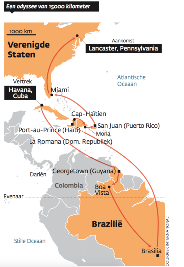 De reis van Regla, German en hun kinderen. – © Courrier International