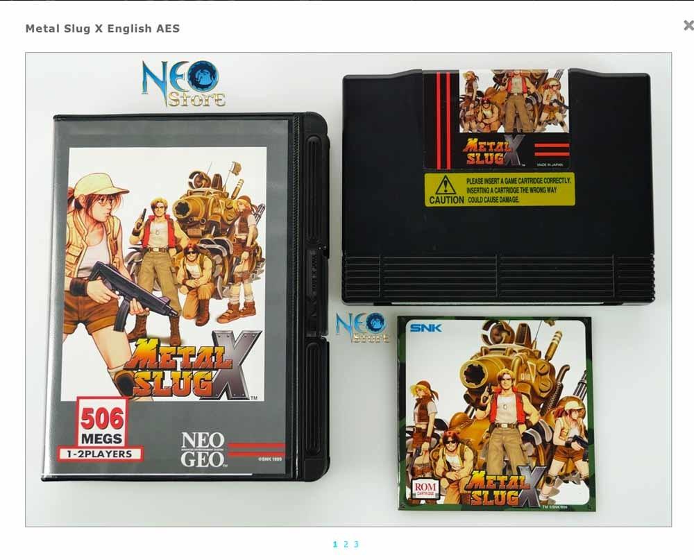 Drie waardevolle Neo Geo-games: v.l.n.r. Last Blade 2, Engels ($ 5250); Metal Slug X, Engels ($ 5950); Art of  ghting 3, Japans ($ 725). – © neo-geo.com