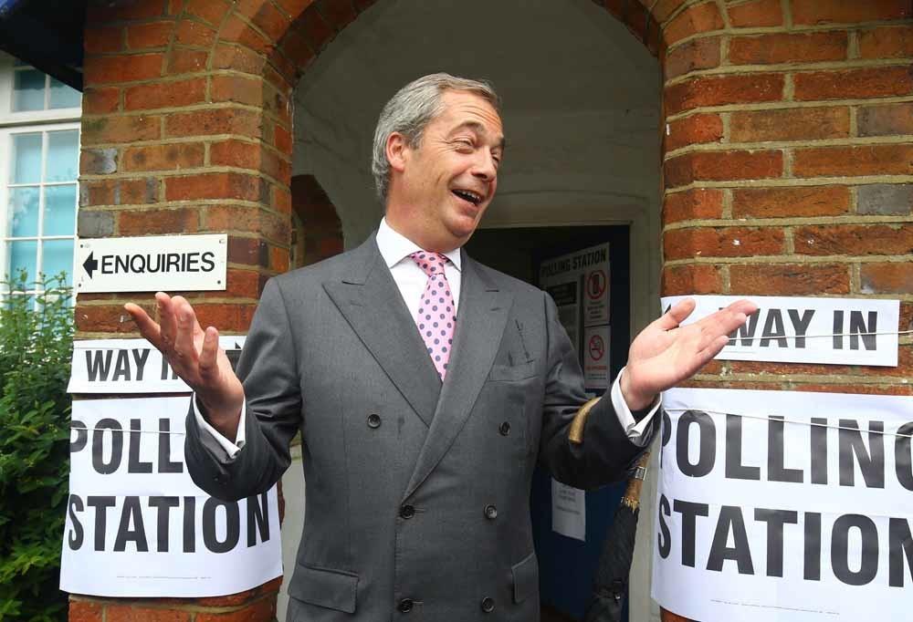 Ukip-leder Nigel Farage, aanjager van de Brexit en een goede bekende van Robert Mercer en Steve Bannon. – © Gareth Fuller