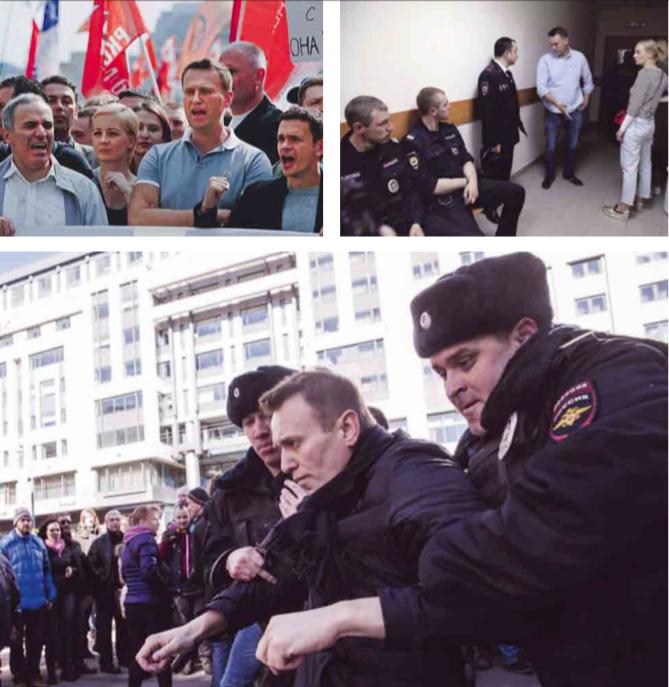 1. Met Garry Kasparov bij een demonstratie tegen Poetin; 2. met zijn vrouw Yasha voor een rechtszitting in Moskou n.a.v. de massademonstratie op 12 juni; 3. Bij een betoging in Moskou, waar hij wordt afgevoerd. – © Jeremy Nicholl, Pavel Golovkin / HH