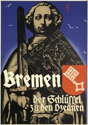 Affiche uit 1935: 'Bremen, de sleutel tot de oceanen'. – © Deutsches Schiffahrtmuseum Bremerhaven