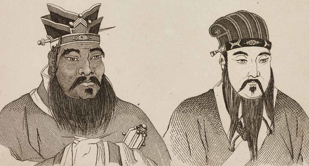 Confucius (links) en Mencius.