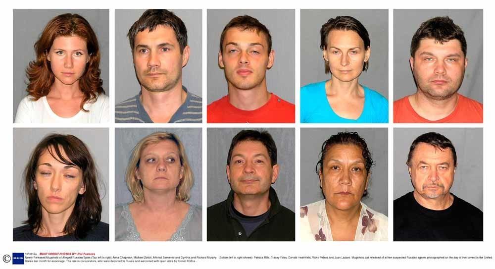 Tien Russische spionnen die werden gearresteerd vanwege werkzaamheden in de VS. Linksboven Anna Chapman, die een tweede carrière kreeg als tv-presentator. – © HH
