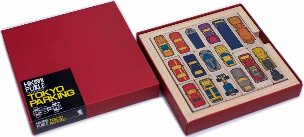 Een Japanse Hikimi-puzzel met als thema 'parkeren'.