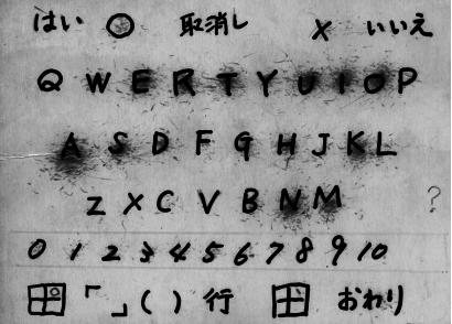 De alfabetraster die Higashida gebruikt om te communiceren.