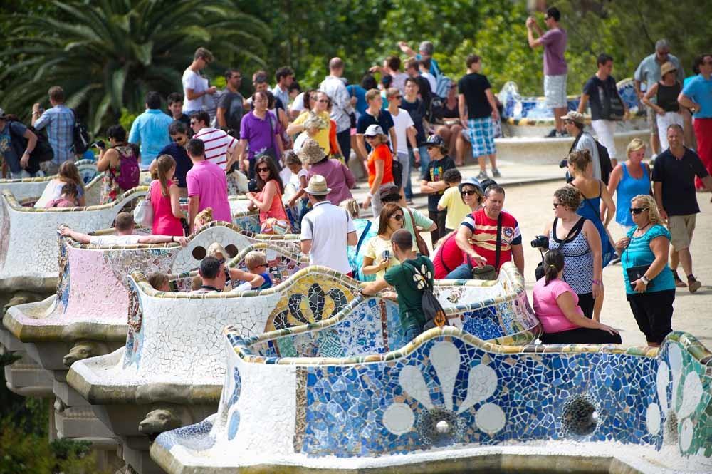 Park Güell in Barcelona, een van de populairste plekken van de stad.