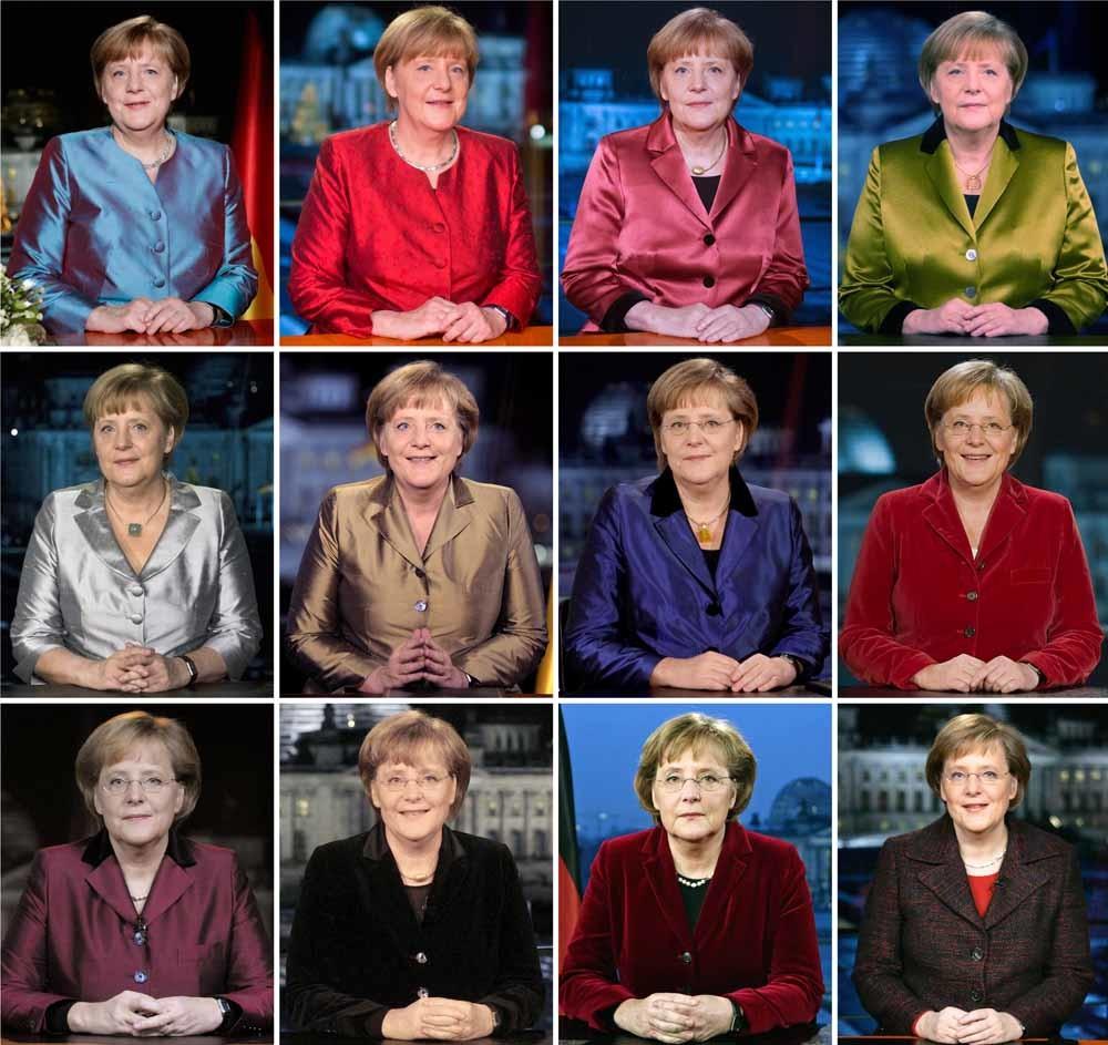 Angela Merkel houdt haar nieuwjaarstoespraak in 2005 (rechtsonder) en in 2016 (linksboven) en alle jaren ertussenin – © Newscom HH