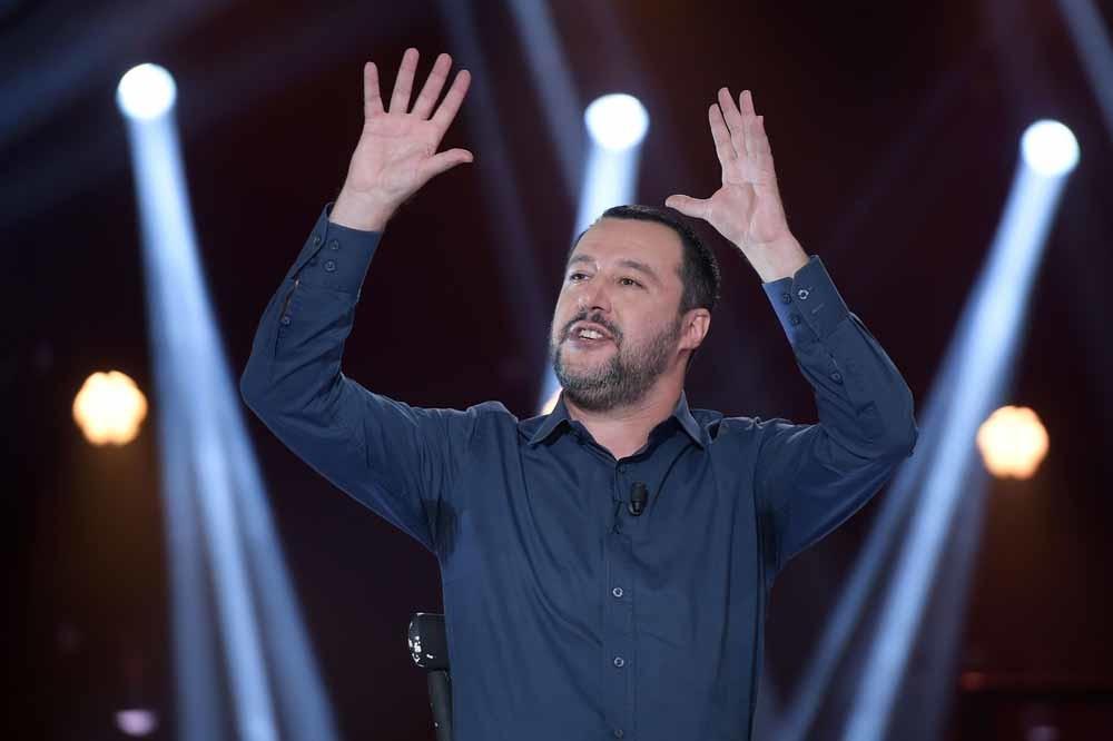 Vicepremier en minister van Binnenlandse Zaken Matteo Salvini tijdens een talkshow op de Italiaanse tv. – © Hollandse Hoogte