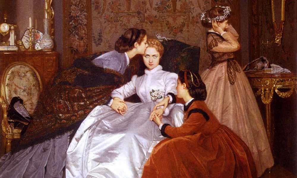 Detail van het schilderij The Reluctant Bride (1866) van de Franse schilder Auguste Toulmouche. – © Wikimedia