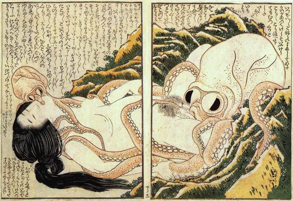 De droom van een vissersvrouw, erotische houtsnede van Katsushika Hokusai 1814.