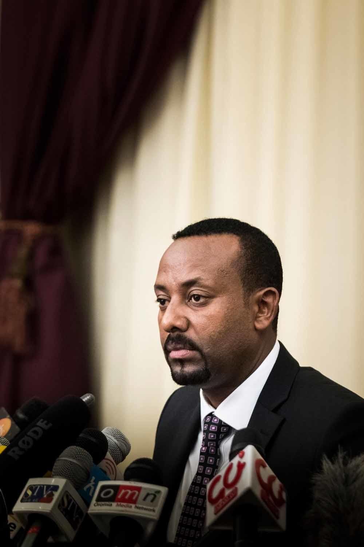 Abiy Ahmed tijdens zijn eerste persconferentie als minister-president van Ethiopië, op 25 augustus 2018. – © HH