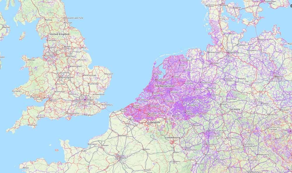 Fietspadendichtheid in Noord-Europese landen. – © Opencyclemap