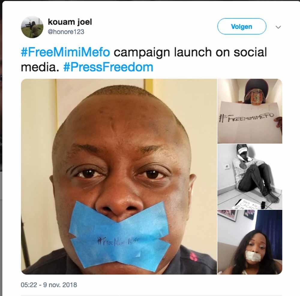 Beelden van de #freemimifo-campaigne op Twitter, naar aanleiding van de arrestatie van een Kameroense journalist die fake news zou hebben verspreid.