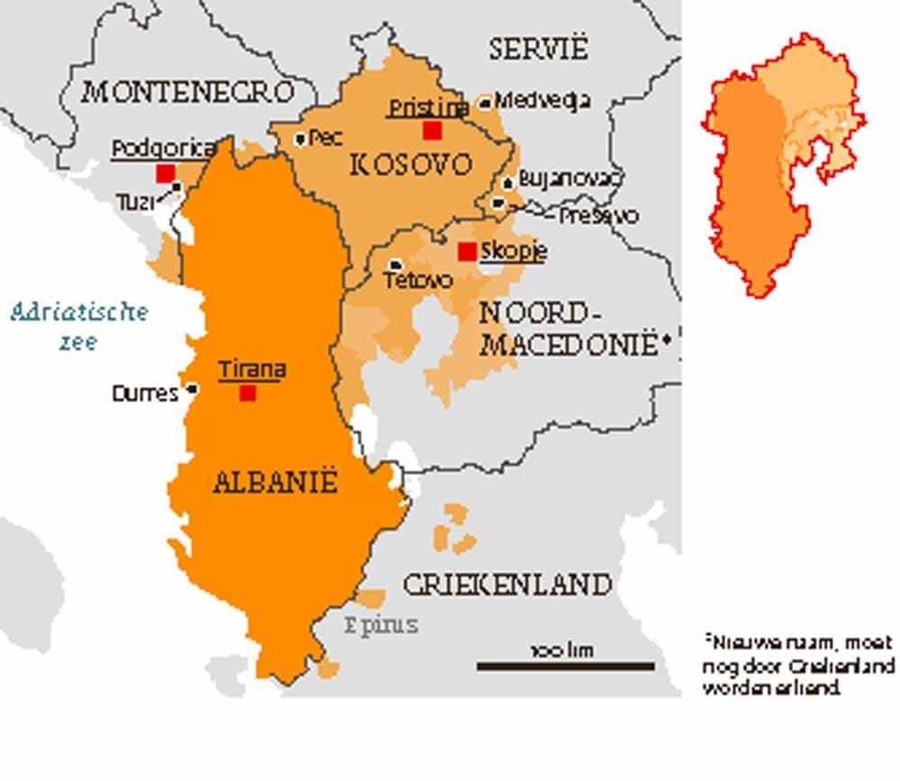 Schets van een Groot-Albanië (uitgaande van de gebieden die in meerderheid door Albanezen worden bewoond)