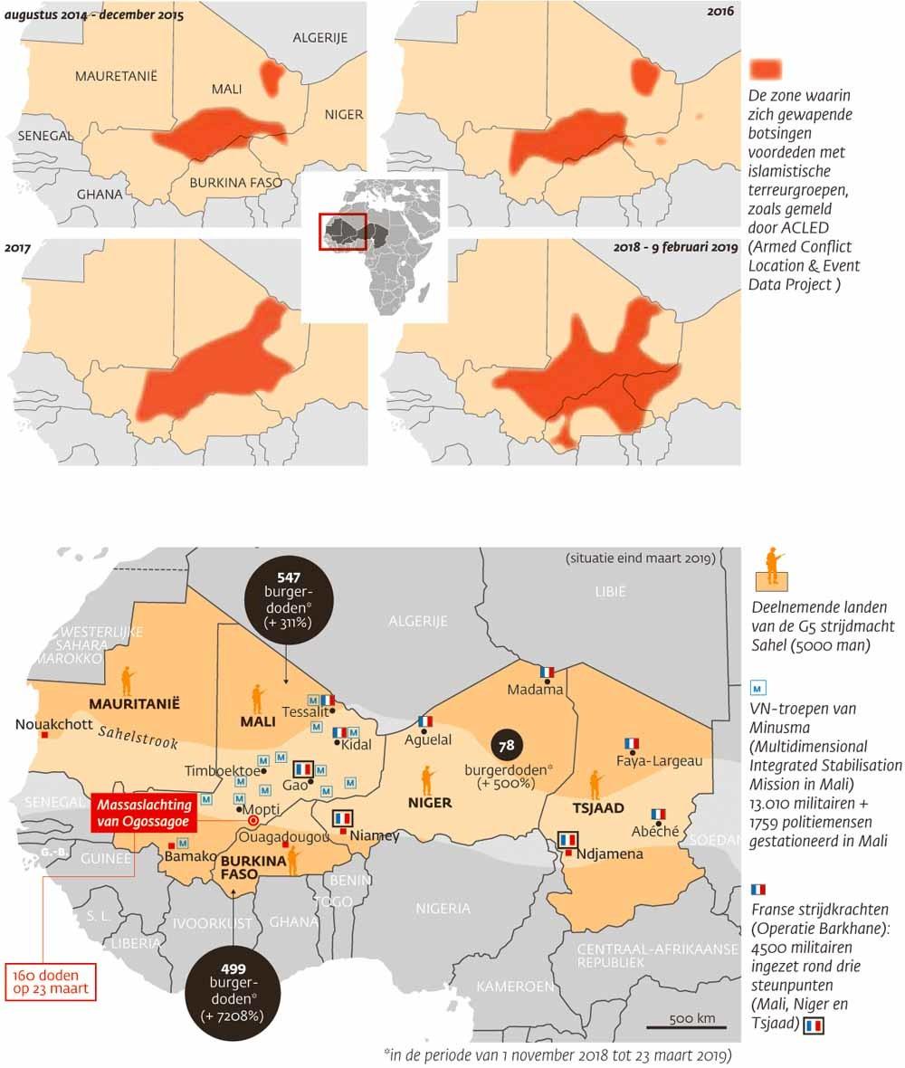 © Franse ministerie van Defensie, Minusma en ACLED