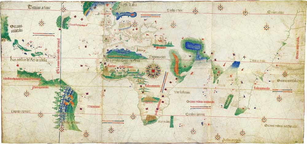 De Cantino-wereldkaart uit 1502 is de oudste bewaard gebleven kaart waarop de ontdekte gebieden door Columbus (Centraal-Amerika), Corte-Real (Newfoundland), Gama (India) en Cabral (Brazilië) staan afgebeeld. - © Biblioteca Estense di Modena