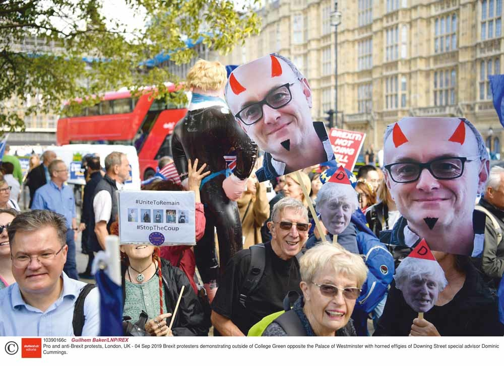Antibrexitdemonstranten protesteren tegenover Westminster Palace. – © Guilhem Baker / LNP / REX