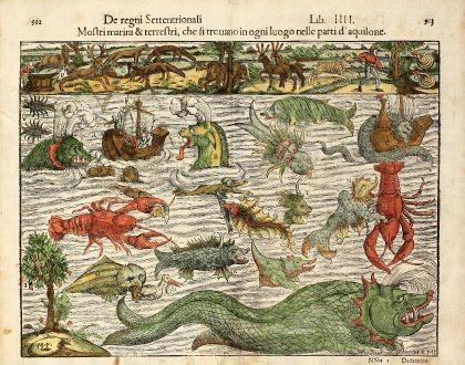 Een zestiende-eeuwse illustratie van denkbeeldige zeemonsters uit Cosmographia van Sebastian Munster, gebaseerd op Carta Marina van Olaus Magnus. – © Getty Images