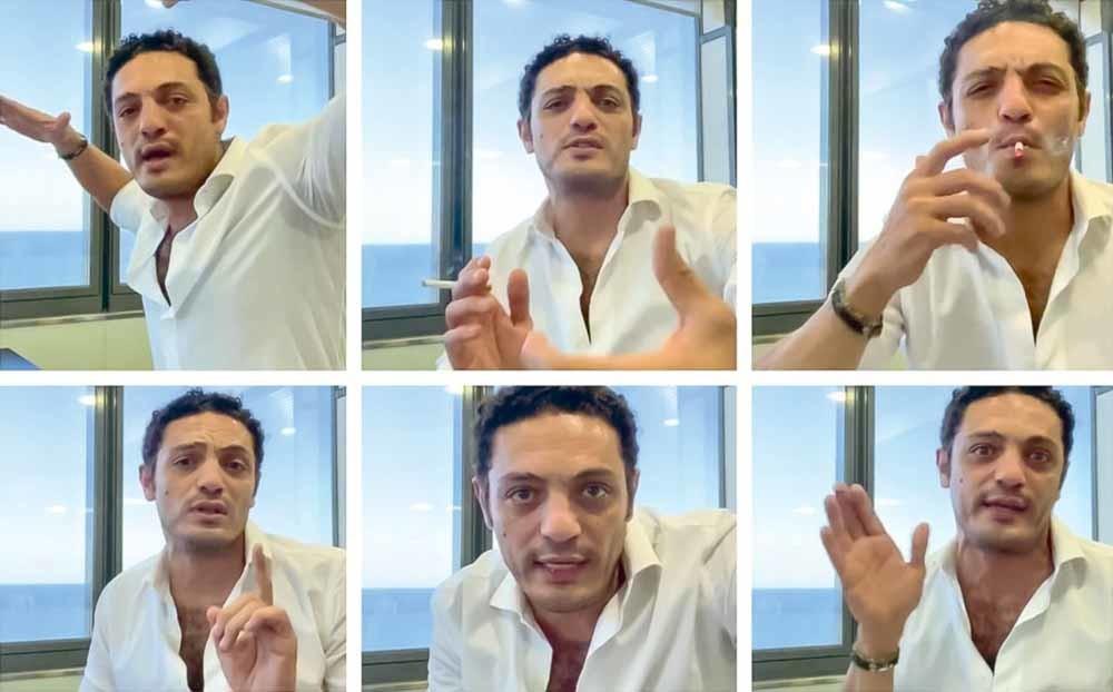 Mohamed Ali in een van de YouTube-filmpjes waarin hij fulmineert tegen het Egyptische regime. Hij beweert  dat de overheid hem  220 miljoen Egyptische pond schuldig is. –  © YouTube