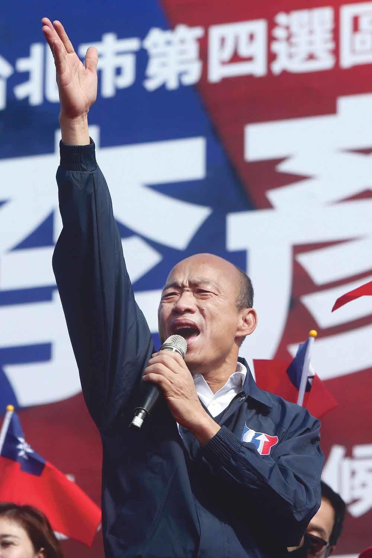 Op het vasteland van China wonen ongeveer een miljoen Taiwanese, die op het Beijing-vriendelijke KMT van Han Kuo-yu (op de foto). Maar steeds meer van hen lijken nu naar de 'groene' opponent over te stappen. © Chiang Ying-ying / Hollandse Hoogte / AP