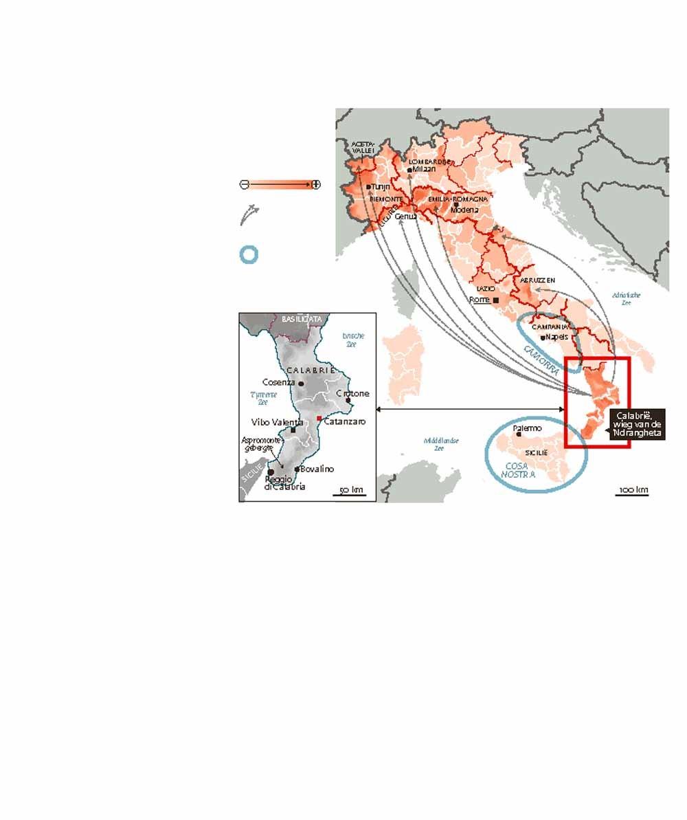 'Ndrangheta is Italië aan het verovere.  Bron: termometropolitico.It.