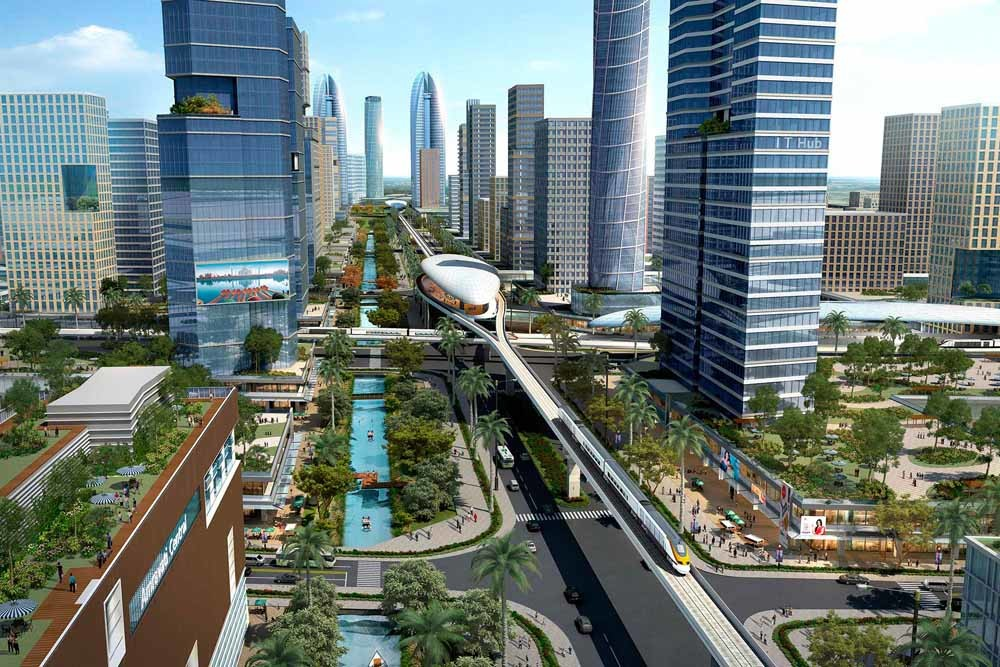 Het masterplan van de nieuwe stad Amaravati.