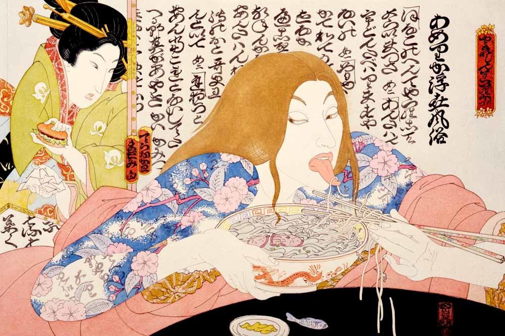 McDonald's hamburgers vallen Japan binnen. Masami Teraoka, 1975. © Catharine Clark Gallery, San Francisco