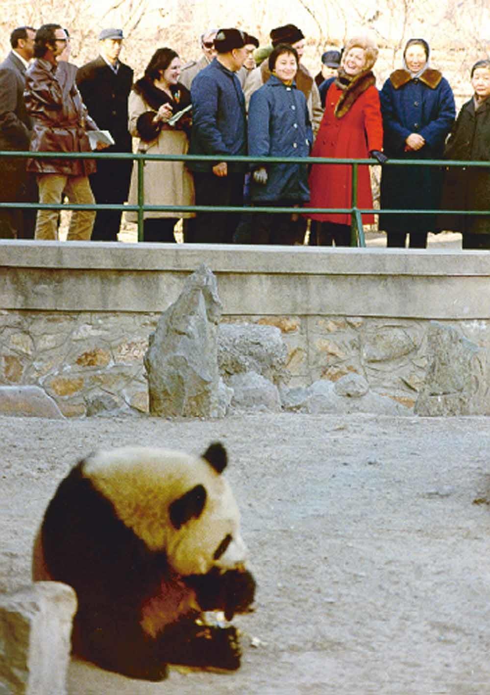 In 1972 bracht Pat Nixon, de toenmalige first lady van de Verenigde Staten, een bezoek aan het pandaverblijf in de dierentuin van Beijing.