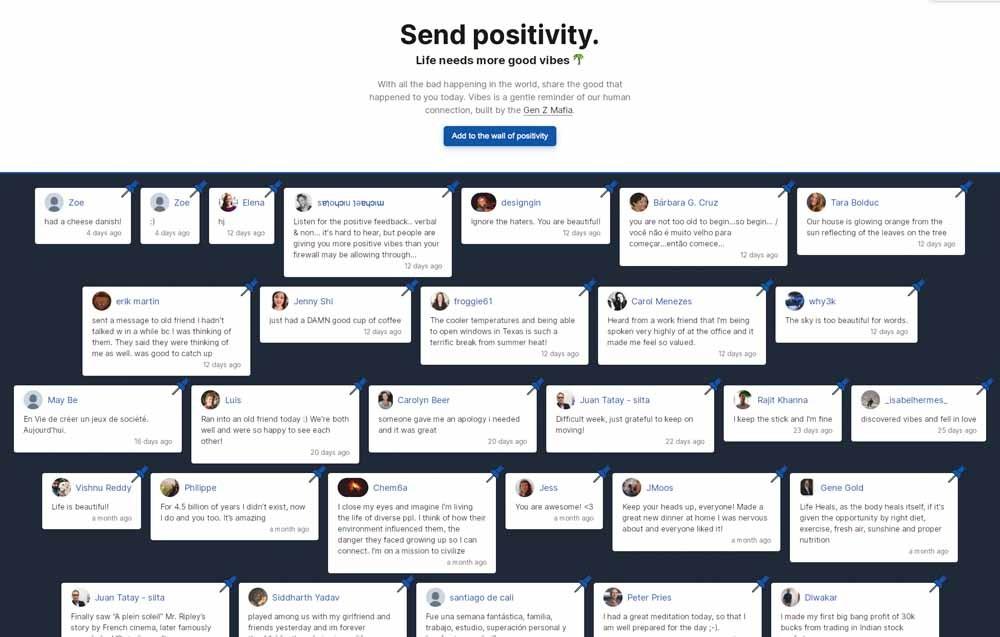 Screenshot van vibes.fyi, gebruikers kunnen op dit onlineprikbord positieve berichten achterlaten.