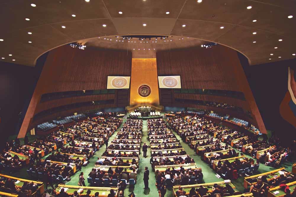 De vergaderzaal van de Algemene Vergadering van de Verenigde Naties. Resoluties over Darfur werden telkens geblokkeerd door de vijf permanente leden met vetorecht van de VN-Veiligheidsraad, ook wel de P5 genoemd.