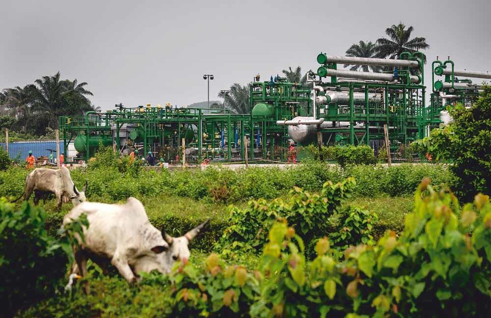 Shells olie- en gasverwerkingsstation Agbada 2 in het zuiden van Nigeria. Lekkende pijpleidingen zorgen voor grootschalige vervuiling in het gebied. - © Robin Lonkhuijsen / ANP