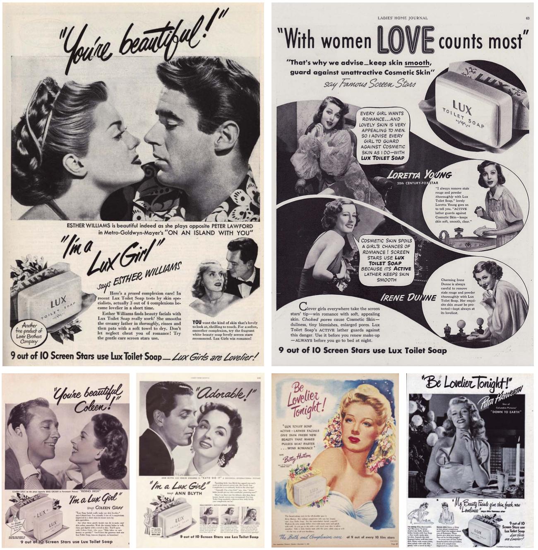 Zeepadvertenties uit de jaren 50 waarin actrices en beroemdheden laten zien hoe Lux voor een stralende, fluweelzachte huid zorgt. - © Vintage ads en Unsplash