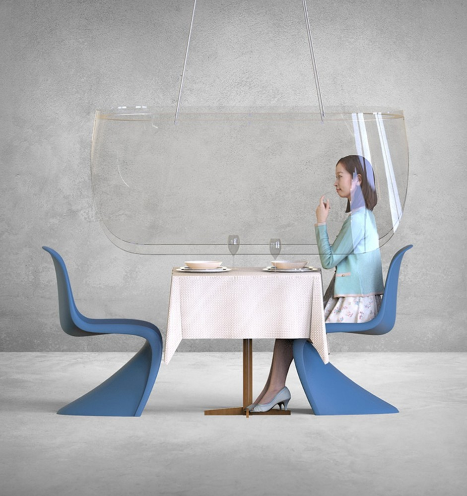 Christophe Gernigon ontwierp plexiglasschermen die goed te gebruiken zijn in restaurants. – © Christophe Gernigon