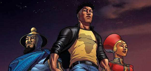 Superheld Kwezi in Gold City, gebaseerd op Johannesburg.