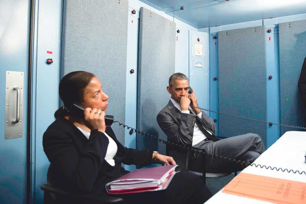 Obama met Nationaal Veiligheidsadviseur Susan E. Rice tijdens een terrorisme-update.