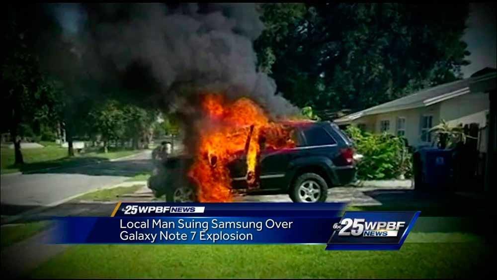 Deze eigenaar heeft dubbel pech: behalve zijn Galaxy Note 7 ging ook zijn jeep in vlammen op.
