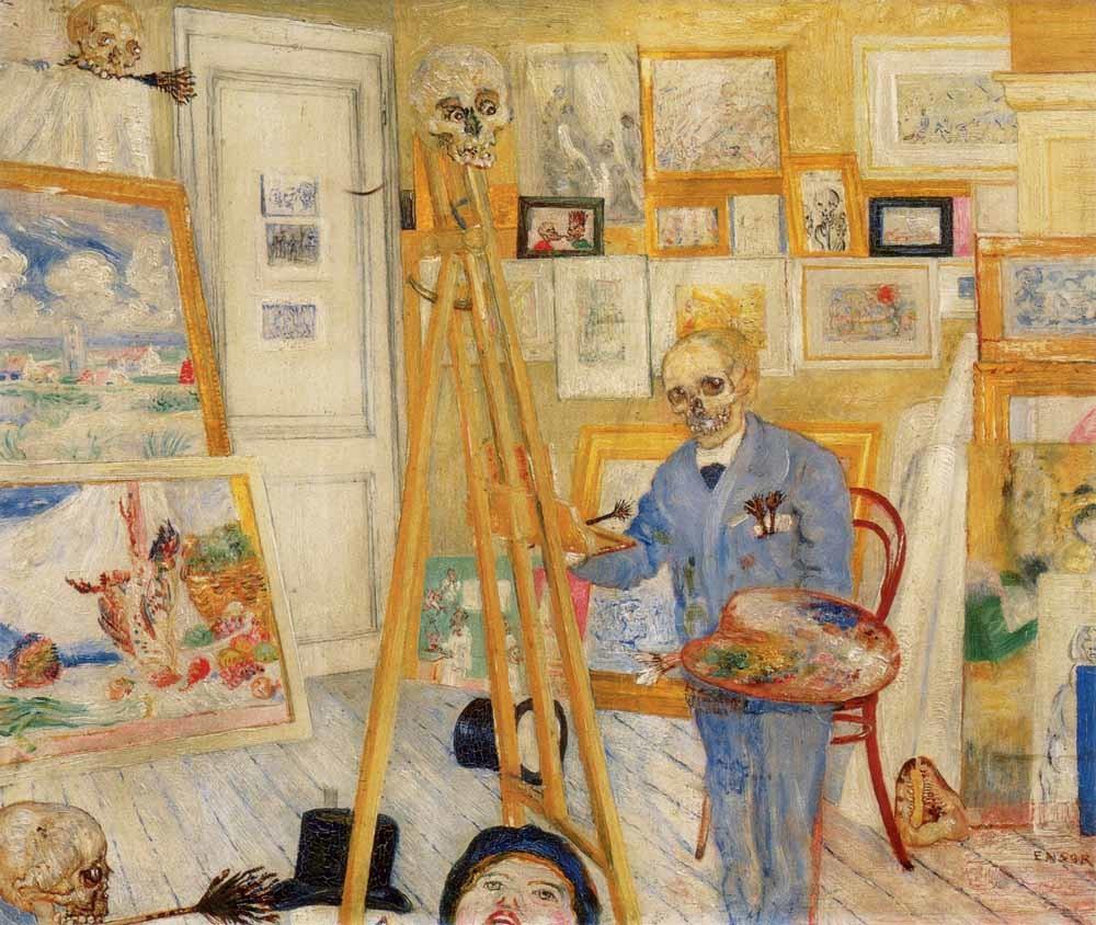 James Ensor, Het schilderend geraamte, 1896.